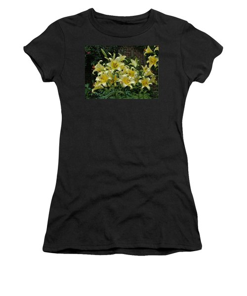 Women's T-Shirt (Junior Cut) featuring the photograph Yellow Oriental Stargazer Lilies by Tom Wurl