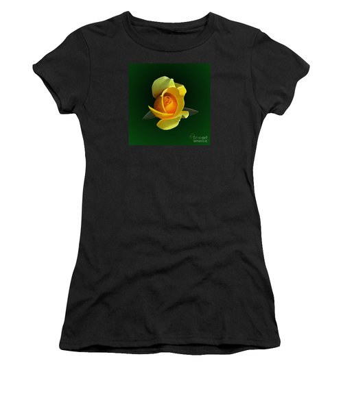 Women's T-Shirt (Junior Cut) featuring the painting Yellow Rose by Rand Herron