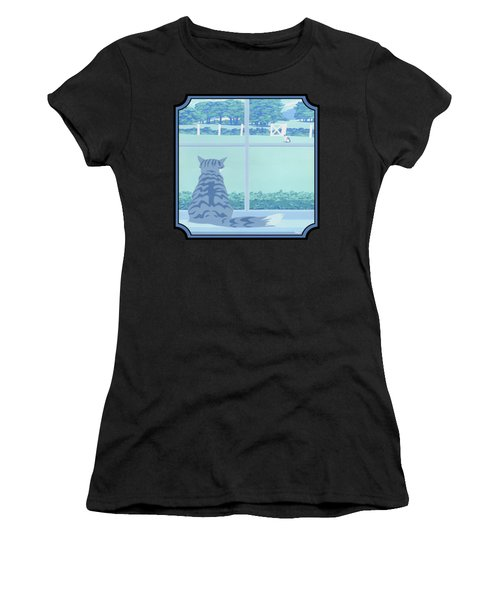 Abstract Cats Staring Stylized Retro Pop Art Nouveau 1980s Green Landscape - Square Format Women's T-Shirt (Athletic Fit)