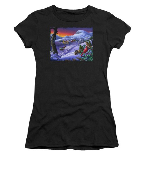 Christmas Sleigh Ride Winter Landscape Oil Painting - Cardinals Country Farm - Small Town Folk Art Women's T-Shirt