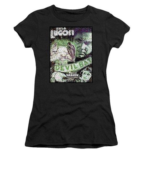 Women's T-Shirt (Junior Cut) featuring the mixed media  Devil Bat Movie Poster Horror Mosaic by Paul Van Scott