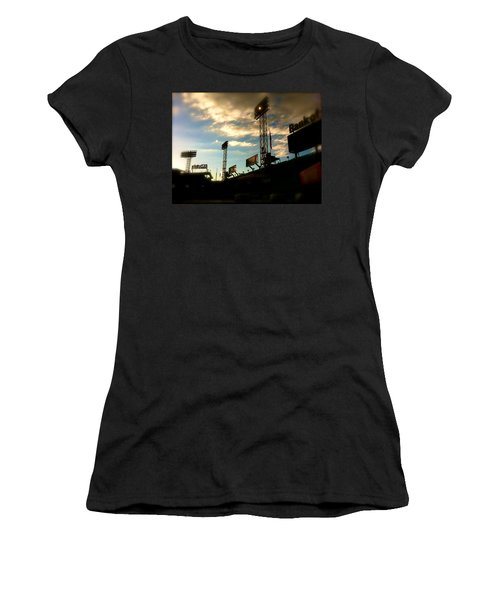 Women's T-Shirt (Junior Cut) featuring the photograph  Fenway Lights Fenway Park David Pucciarelli  by Iconic Images Art Gallery David Pucciarelli