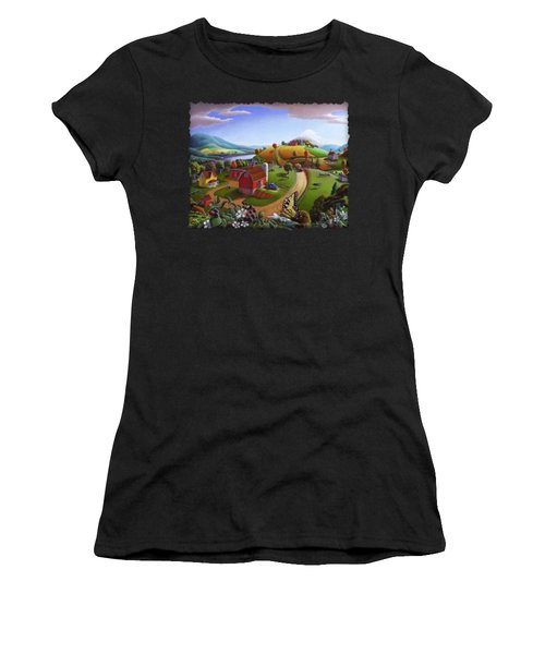 Folk Art Blackberry Patch Rural Country Farm Landscape Painting - Blackberries Rustic Americana Women's T-Shirt