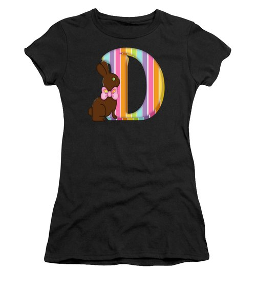 Letter D Chocolate Easter Bunny Women's T-Shirt
