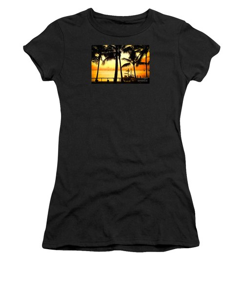 Palm Sunset On The Keys Women's T-Shirt (Junior Cut) by Judy Kay