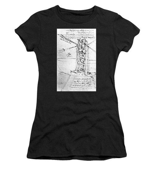 Vertically Standing Bird's Winged Flying Machine Women's T-Shirt