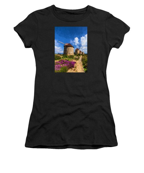Windmills Of Portugal Women's T-Shirt (Athletic Fit)
