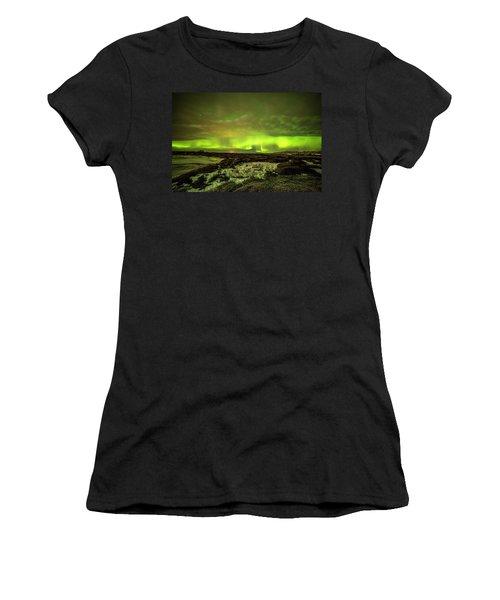 Aurora Borealis Over A Frozen Lake Women's T-Shirt (Athletic Fit)