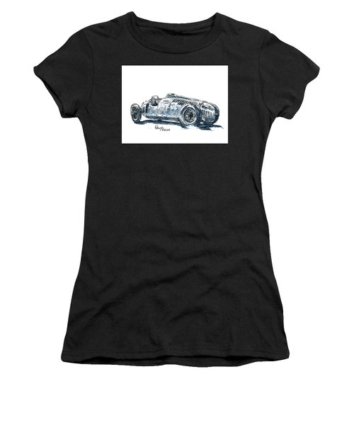 Auto Union Typ C Classic Racecar Ink Drawing And Watercolor Women's T-Shirt