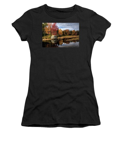 Women's T-Shirt (Junior Cut) featuring the photograph Autumn In Maine by Greg DeBeck