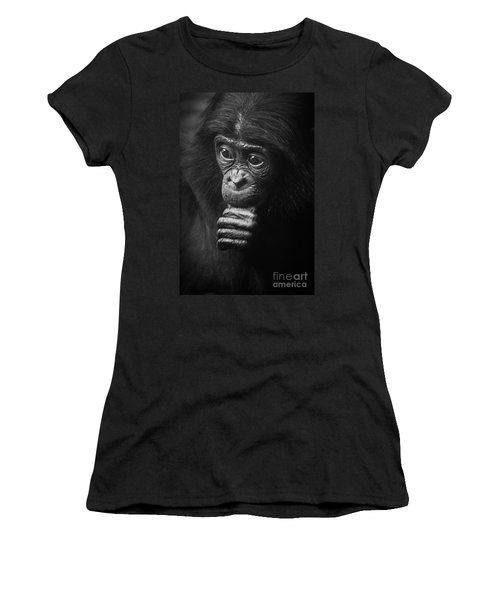 Women's T-Shirt (Junior Cut) featuring the photograph Baby Bonobo Portrait by Helga Koehrer-Wagner