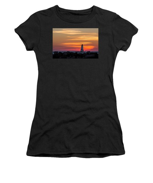 Women's T-Shirt (Athletic Fit) featuring the photograph Beautiful Ludington Lighthouse Sunset by Adam Romanowicz
