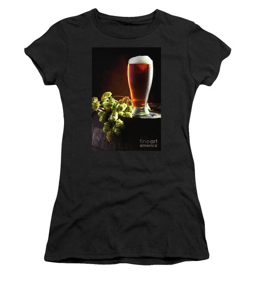 Beer And Hops On Barrel Women's T-Shirt