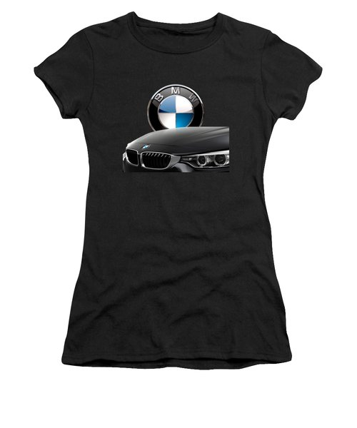 Black B M W - Front Grill Ornament And 3 D Badge On Red Women's T-Shirt (Athletic Fit)