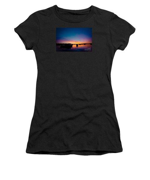 Boats And Sunrise Above Lake Water Summer Time Latvia Ezera Skanas Women's T-Shirt