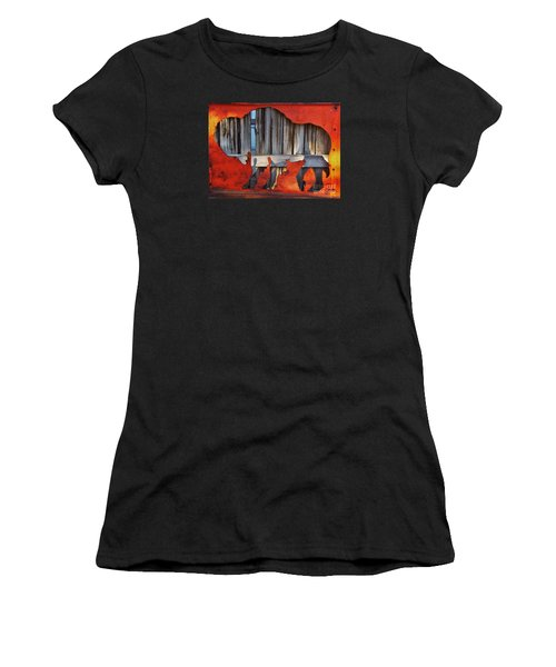Women's T-Shirt (Athletic Fit) featuring the photograph Wooden Buffalo 1 by Larry Campbell