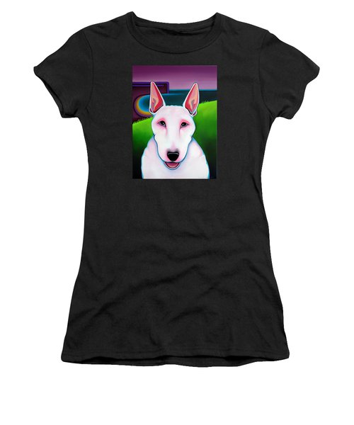 Women's T-Shirt (Junior Cut) featuring the painting Bull Terrier by Leanne WILKES