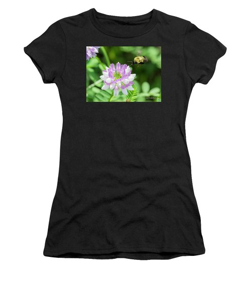 Bumble Bee Pollinating A Flower Women's T-Shirt (Athletic Fit)