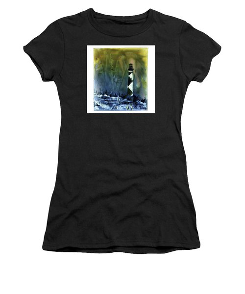 Women's T-Shirt (Junior Cut) featuring the mixed media Cape Lookout Lighthouse by Ryan Fox