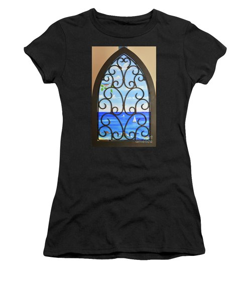 Women's T-Shirt featuring the painting Cathedral View by Mary Scott