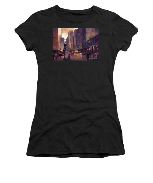 Women's T-Shirt featuring the painting City Street by Tithi Luadthong
