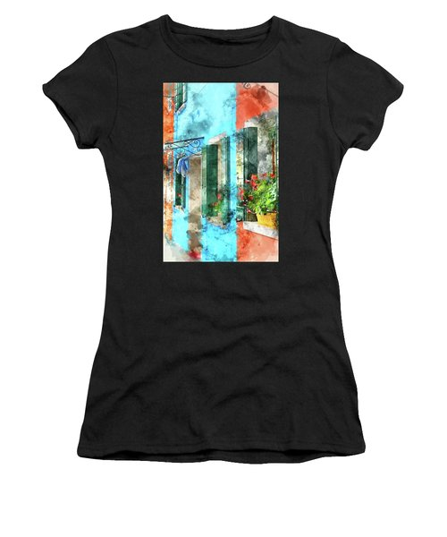 Colorful Houses In Burano Island Venice Italy Women's T-Shirt (Athletic Fit)