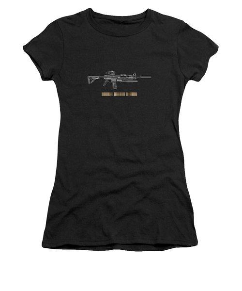 Colt  M 4 A 1  S O P M O D Carbine With 5.56 N A T O Rounds On Red Velvet  Women's T-Shirt