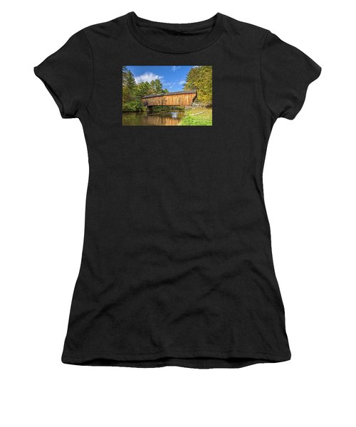 Women's T-Shirt (Athletic Fit) featuring the photograph Corbin Covered Bridge Newport New Hampshire by Edward Fielding