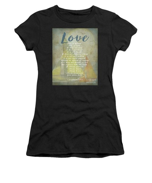 1 Corinthians 13 4-8 Love Is Patient Love Is Kind Wedding Verses. Great Gift For Men Or Home Decor. Women's T-Shirt (Athletic Fit)