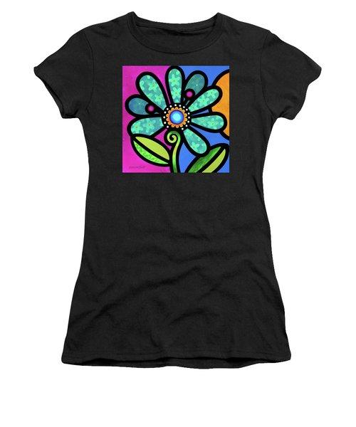 Cosmic Daisy In Aqua Women's T-Shirt