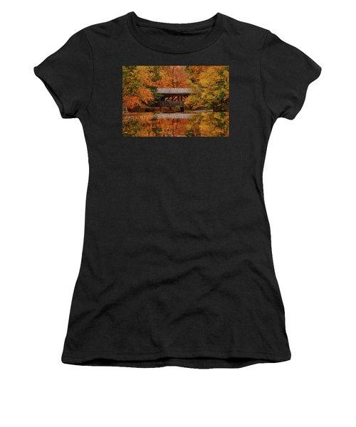Women's T-Shirt featuring the photograph Covered Bridge At Sturbridge Village by Jeff Folger