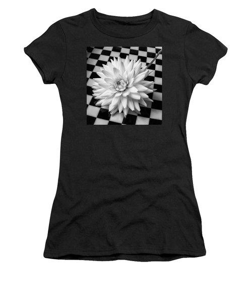 Dahlia On Checker Background Women's T-Shirt