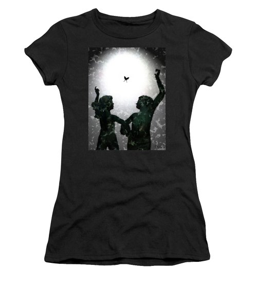 Women's T-Shirt (Junior Cut) featuring the digital art Dancing Silhouettes by Holly Ethan