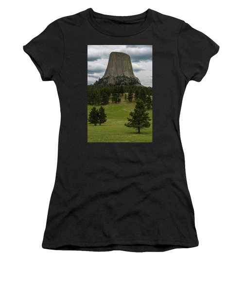 Women's T-Shirt (Athletic Fit) featuring the photograph Devil's Tower by Gary Lengyel