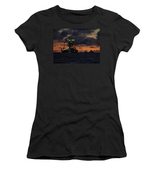 Drill Rig At Dusk Women's T-Shirt (Athletic Fit)