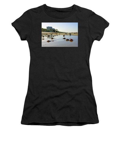 Fighting Conchs On The Beach In Naples, Fl Women's T-Shirt