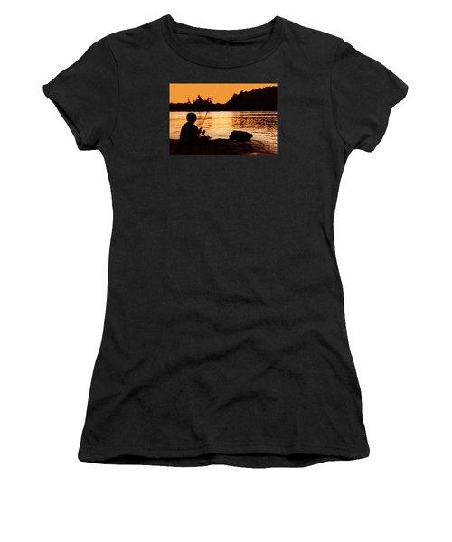 Fishing From A Rock  Women's T-Shirt (Junior Cut) by Lyle Crump