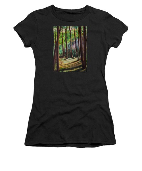 Women's T-Shirt (Junior Cut) featuring the painting Forest Light by Ron Richard Baviello