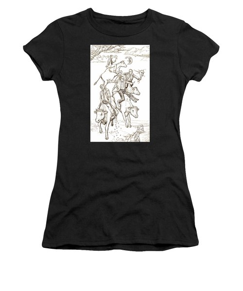 Women's T-Shirt (Athletic Fit) featuring the digital art Four Mad Cowboys Of The Apocalypse by Russell Kightley