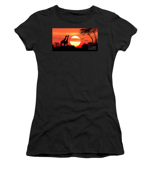 Giraffes At Sunset Women's T-Shirt (Athletic Fit)