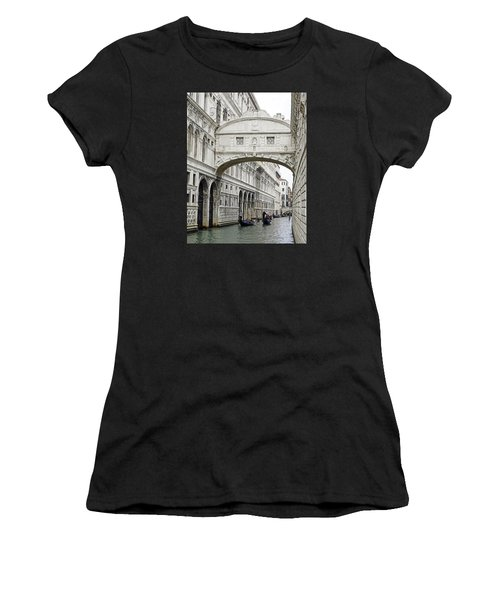 Gondolas Going Under The Bridge Of Sighs In Venice Italy Women's T-Shirt (Athletic Fit)
