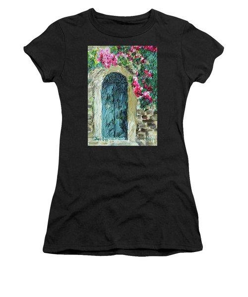 Green Italian Door With Flowers Women's T-Shirt