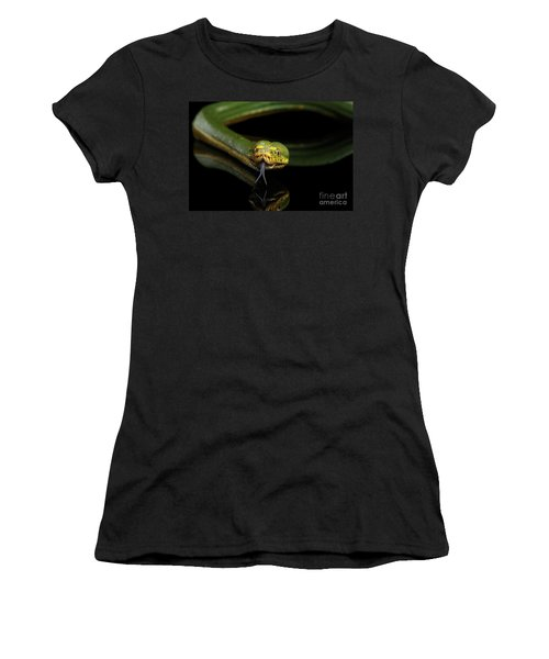 Green Tree Python. Morelia Viridis. Isolated Black Background Women's T-Shirt (Athletic Fit)