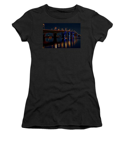 Hathaway Bridge At Night Women's T-Shirt (Junior Cut) by Anthony Dezenzio