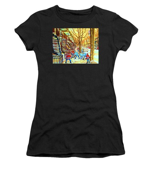 Hockey Game Near Winding Staircases Women's T-Shirt (Athletic Fit)