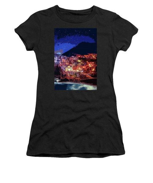 Italy, Manarola At Night Women's T-Shirt