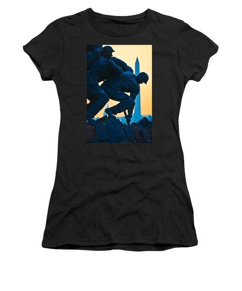 Iwo Jima Memorial At Dusk Women's T-Shirt (Athletic Fit)