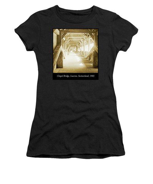 Kapell Bridge, Lucerne, Switzerland, 1903, Vintage, Photograph Women's T-Shirt