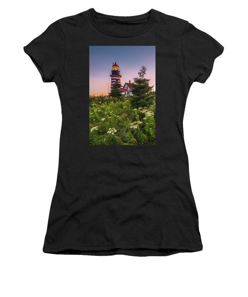 Maine West Quoddy Head Light At Sunset Women's T-Shirt (Athletic Fit)