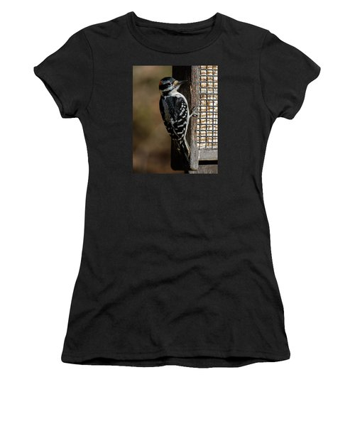 Women's T-Shirt (Athletic Fit) featuring the photograph Male Hairy Woodpecker by Robert L Jackson
